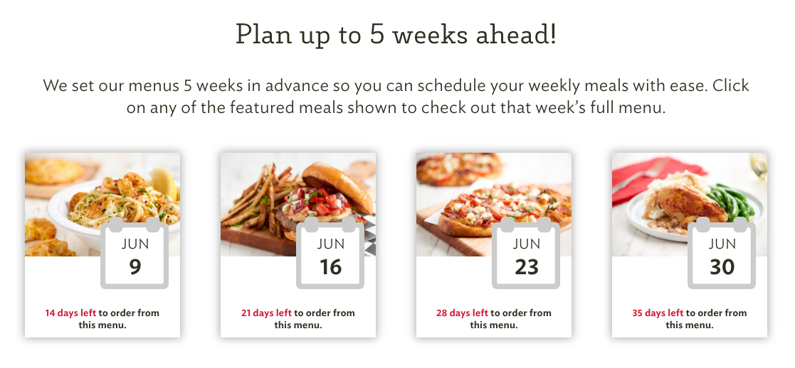 Plan Meals 5 Weeks Out!
