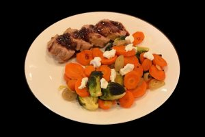 Fig Glazed Pork Tenderloin with roasted Brussel Sprouts and Carrots