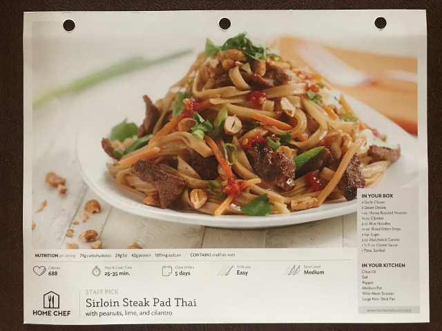 Home Chef Recipe Card – Front