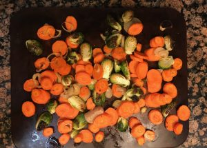 Roasted Brussel sprouts, carrots and shallots